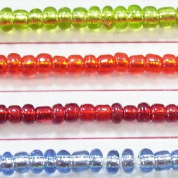 Silver lined Glass Beads, Bugle Beads